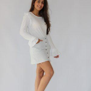 Falda corta para mujer a rayas blanca y gris, abotonada