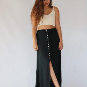 Falda midi negra para mujer en tejido vaporoso, con textura y vuelo