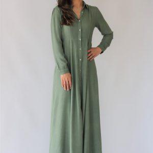 Vestido largo para mujer liso verde militar, tejido vaporoso con vuelo