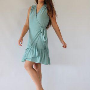 Vestido midi cruzado con lazada, de color verde menta liso