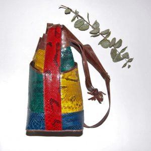 Bolso | Bucket de piel de serpiente original teñida en varios colores