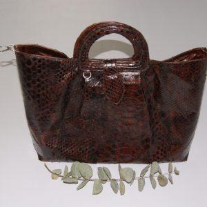 Bolso Satchel de piel de serpiente original teñida en marrón