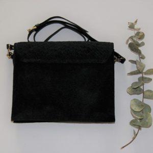 Bolso negro de piel trenzada para mujer con correa regulable