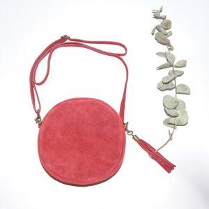 Bolso de piel para mujer, con forma redonda color rojo