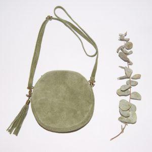 Bolso de piel para mujer, con forma redonda color verde militar