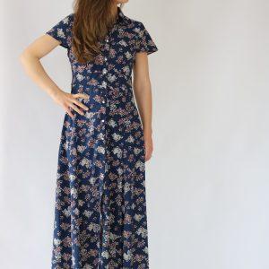 Vestido largo azul marino para mujer con estampado floral