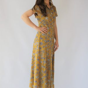Vestido largo mostaza para mujer con estampado floral