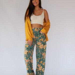Pantalón largo, ancho para mujer, con cintura elástica y ajustable