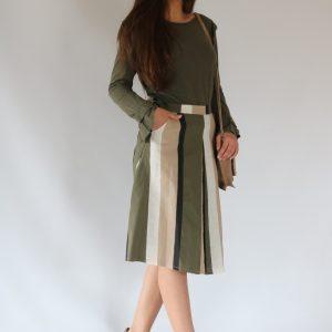 Falda midi para mujer, con rayas verdes, cintura con cremallera