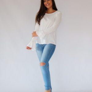 Camiseta blanca de algodón para mujer, con manga larga