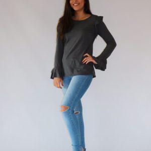 Camiseta gris oscura de algodón para mujer, con manga larga