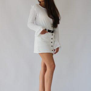 Camiseta de algodón para mujer, con manga larga y volantes