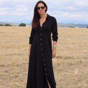 Vestido camisero largo suelto negro