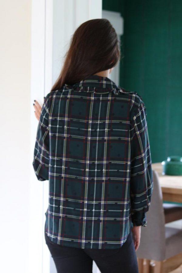 Blusa cruzada de cuadros para mujer en tejido vaporoso